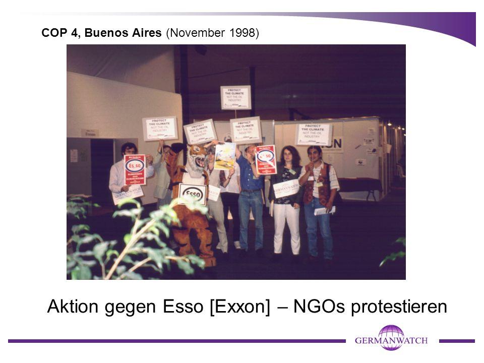 COP 4, Buenos Aires (November 1998) Aktion gegen Esso [Exxon] – NGOs protestieren
