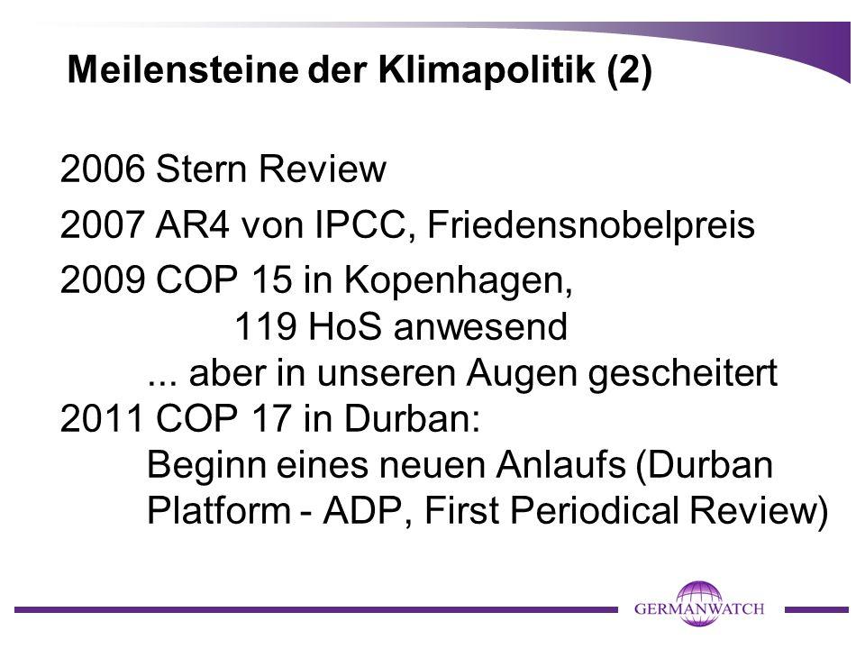 Meilensteine der Klimapolitik (2) 2006 Stern Review 2007 AR4 von IPCC, Friedensnobelpreis 2009 COP 15 in Kopenhagen, 119 HoS anwesend...