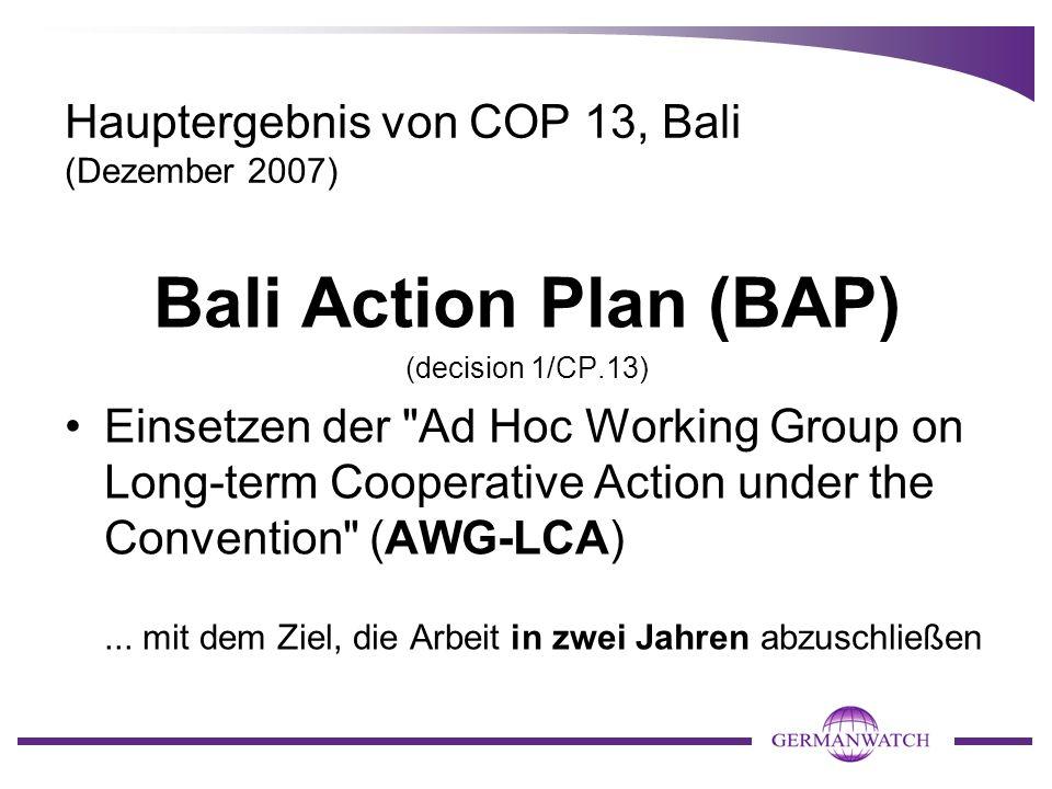 Hauptergebnis von COP 13, Bali (Dezember 2007) Bali Action Plan (BAP) (decision 1/CP.13) Einsetzen der Ad Hoc Working Group on Long-term Cooperative Action under the Convention (AWG-LCA)...