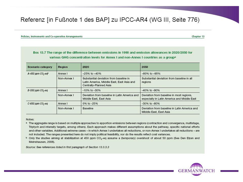 Referenz [in Fußnote 1 des BAP] zu IPCC-AR4 (WG III, Seite 776)