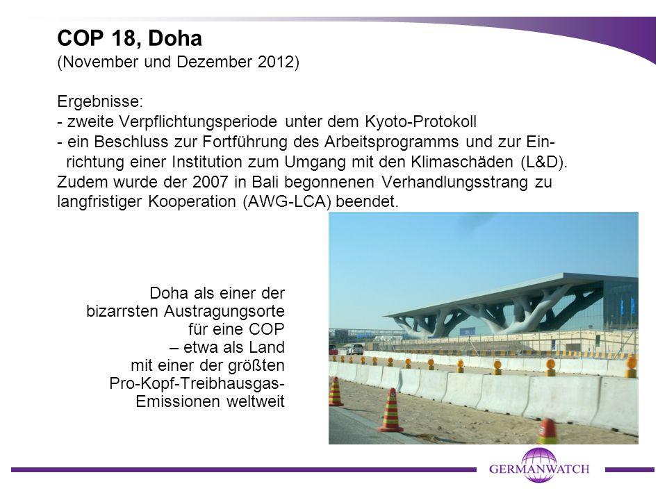 COP 18, Doha (November und Dezember 2012) Ergebnisse: - zweite Verpflichtungsperiode unter dem Kyoto-Protokoll - ein Beschluss zur Fortführung des Arb