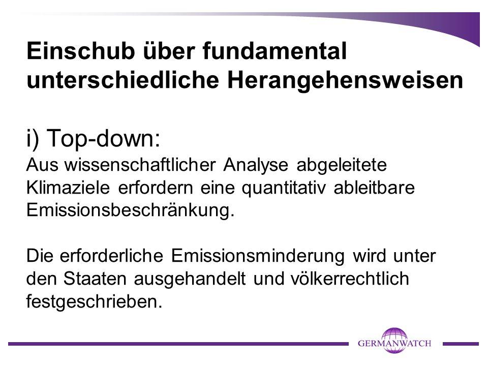 Einschub über fundamental unterschiedliche Herangehensweisen i) Top-down: Aus wissenschaftlicher Analyse abgeleitete Klimaziele erfordern eine quantitativ ableitbare Emissionsbeschränkung.