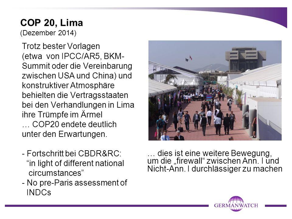 COP 20, Lima (Dezember 2014) Trotz bester Vorlagen (etwa von IPCC/AR5, BKM- Summit oder die Vereinbarung zwischen USA und China) und konstruktiver Atm