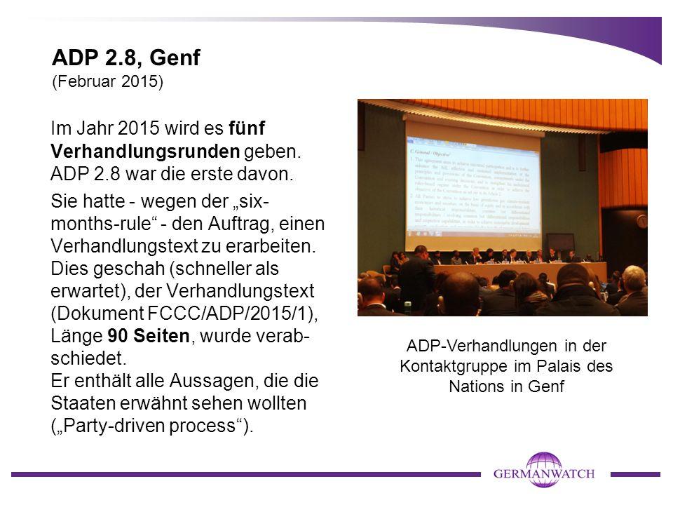 """ADP 2.8, Genf (Februar 2015) Im Jahr 2015 wird es fünf Verhandlungsrunden geben. ADP 2.8 war die erste davon. Sie hatte - wegen der """"six- months-rule"""""""