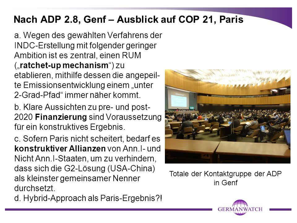 Nach ADP 2.8, Genf – Ausblick auf COP 21, Paris a. Wegen des gewählten Verfahrens der INDC-Erstellung mit folgender geringer Ambition ist es zentral,