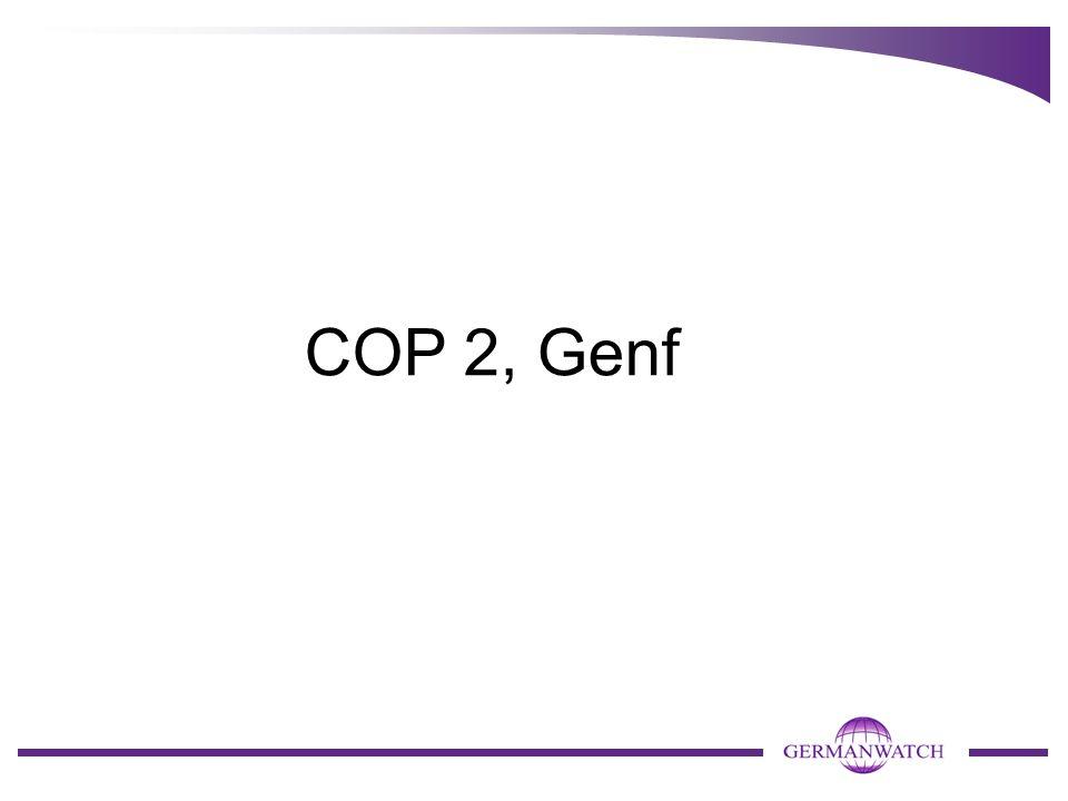 """COP 6bis, Bonn (Juli 2001) COP 6bis beschloss - nach Ringen von 178 Ländern gegen ein Einzelnes – die """"Bonn Agreements , einen 14-seitigen politischen Text zur Handhabung des Kyoto- Protokolls um die Themen - Finanzierung, - die Kyoto-Mechanismen, - Senken und - Erfüllungskontrolle."""
