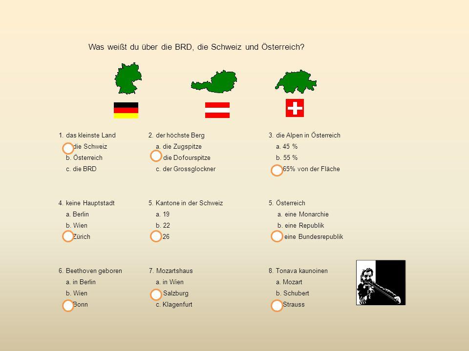 Was weißt du über die BRD, die Schweiz und Österreich.