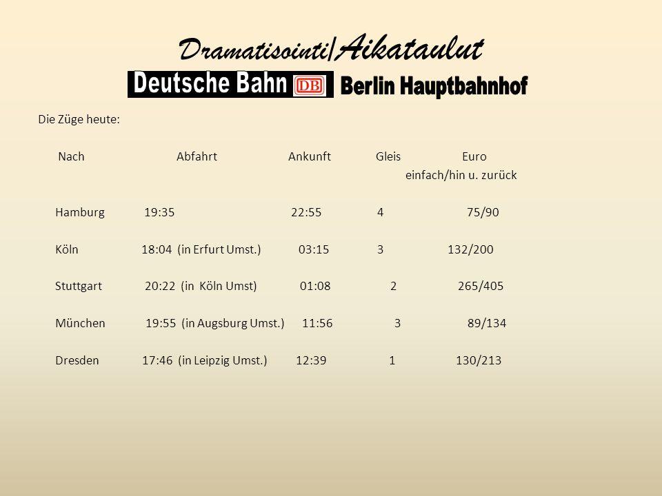 Dramatisointi/ Aikataulut Die Züge heute: Nach Abfahrt Ankunft Gleis Euro einfach/hin u.