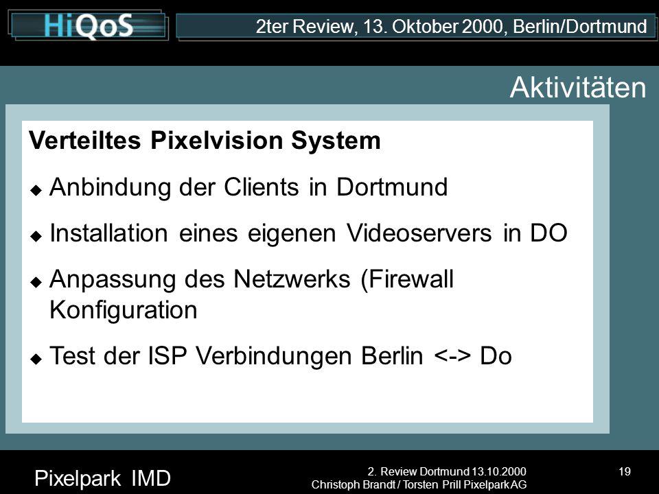 2ter Review, 13. Oktober 2000, Berlin/Dortmund Pixelpark IMD 2. Review Dortmund 13.10.2000 Christoph Brandt / Torsten Prill Pixelpark AG 19 Aktivitäte