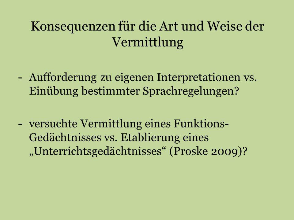 Konsequenzen für die Art und Weise der Vermittlung -Aufforderung zu eigenen Interpretationen vs. Einübung bestimmter Sprachregelungen? -versuchte Verm