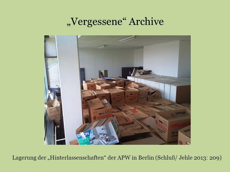 """""""Vergessene"""" Archive Lagerung der """"Hinterlassenschaften"""" der APW in Berlin (Schluß/ Jehle 2013: 209)"""