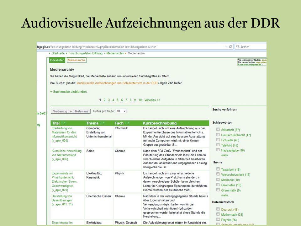 Audiovisuelle Aufzeichnungen aus der DDR