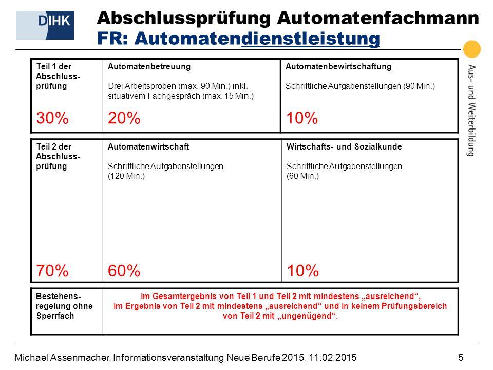 Michael Assenmacher, Informationsveranstaltung Neue Berufe 2015, 11.02.20155 Abschlussprüfung Automatenfachmann FR: Automatendienstleistung Teil 1 der