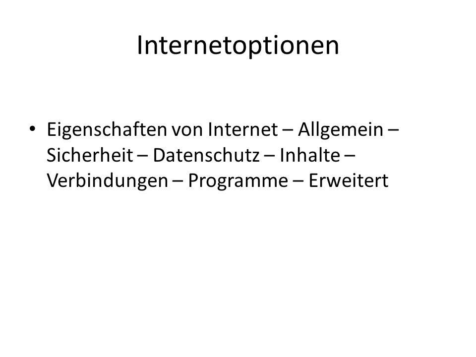 Internetoptionen Eigenschaften von Internet – Allgemein – Sicherheit – Datenschutz – Inhalte – Verbindungen – Programme – Erweitert