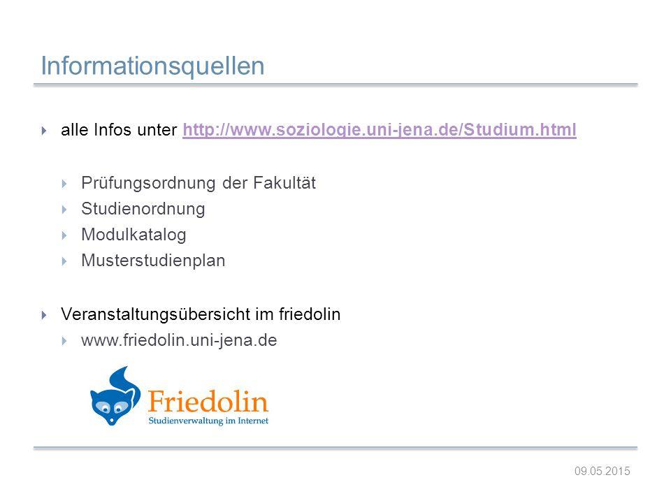Informationsquellen  alle Infos unter http://www.soziologie.uni-jena.de/Studium.htmlhttp://www.soziologie.uni-jena.de/Studium.html  Prüfungsordnung