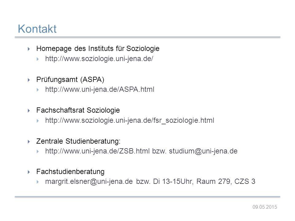 Kontakt  Homepage des Instituts für Soziologie  http://www.soziologie.uni-jena.de/  Prüfungsamt (ASPA)  http://www.uni-jena.de/ASPA.html  Fachsch