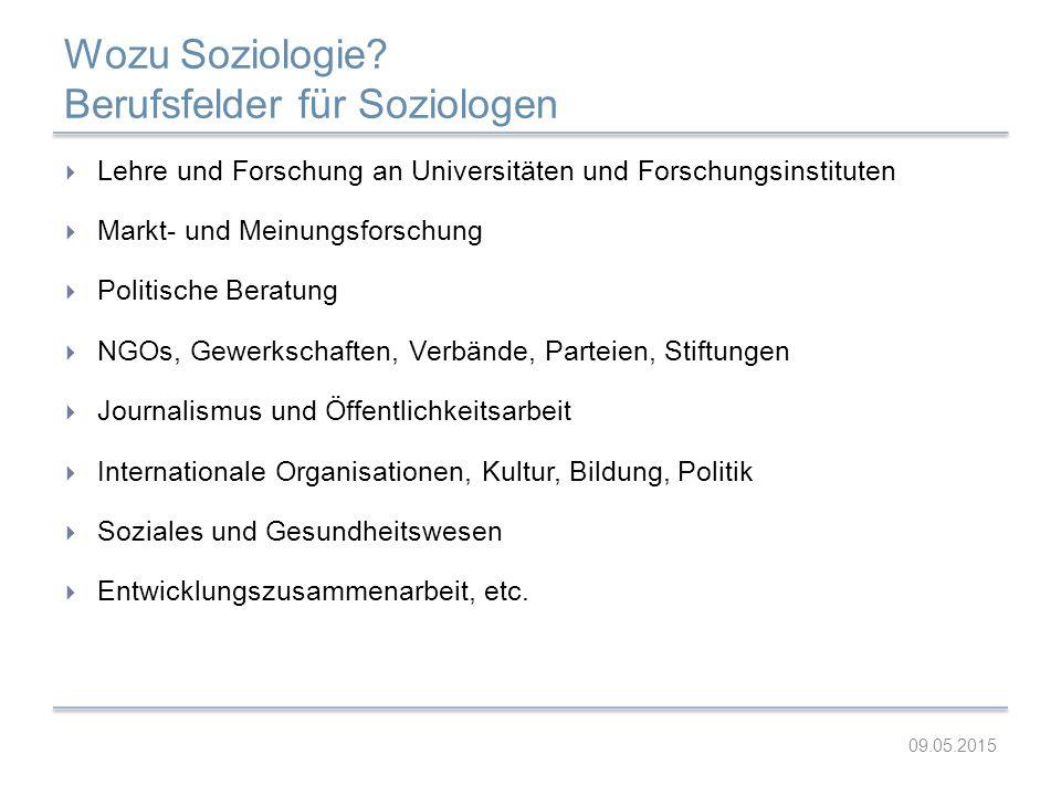 Wozu Soziologie? Berufsfelder für Soziologen  Lehre und Forschung an Universitäten und Forschungsinstituten  Markt- und Meinungsforschung  Politisc