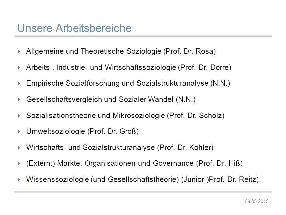 Unsere Arbeitsbereiche  Allgemeine und Theoretische Soziologie (Prof. Dr. Rosa)  Arbeits-, Industrie- und Wirtschaftssoziologie (Prof. Dr. Dörre) 