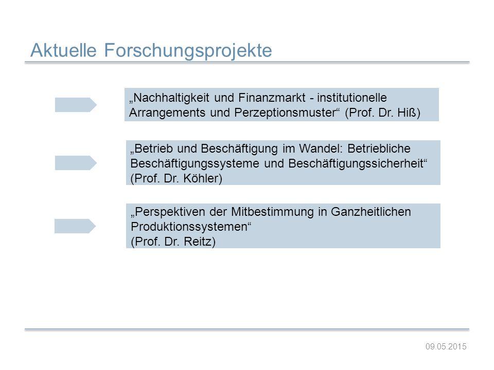 """Aktuelle Forschungsprojekte """"Nachhaltigkeit und Finanzmarkt - institutionelle Arrangements und Perzeptionsmuster"""" (Prof. Dr. Hiß) """"Betrieb und Beschäf"""