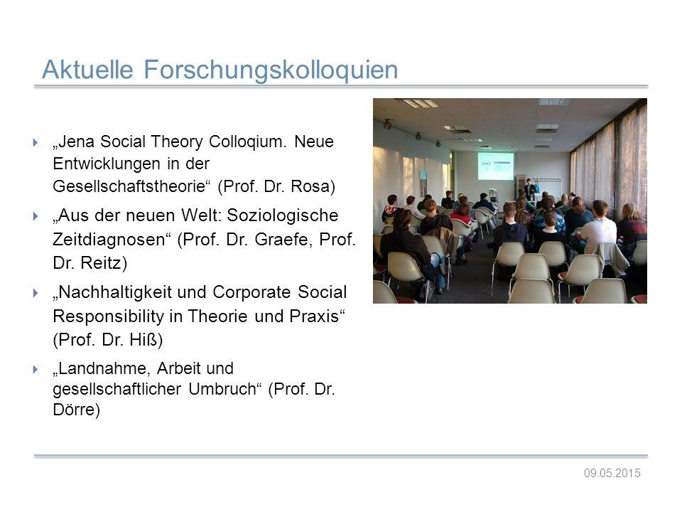 "Aktuelle Forschungskolloquien 09.05.2015  ""Jena Social Theory Colloqium. Neue Entwicklungen in der Gesellschaftstheorie"" (Prof. Dr. Rosa)  ""Aus der"