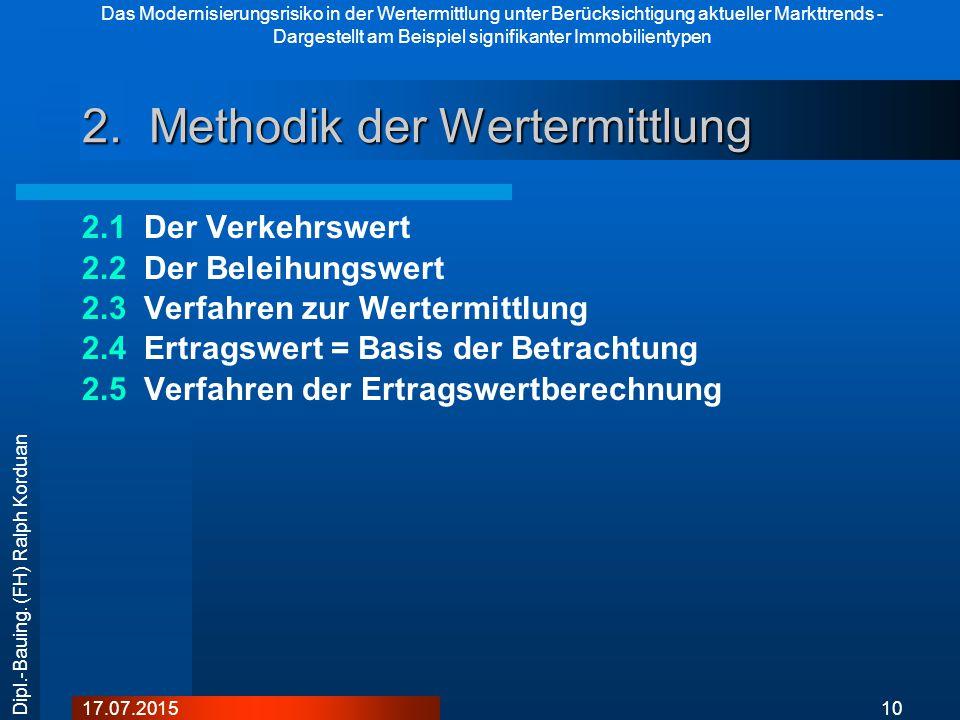 Das Modernisierungsrisiko in der Wertermittlung unter Berücksichtigung aktueller Markttrends - Dargestellt am Beispiel signifikanter Immobilientypen 1017.07.2015 Dipl.-Bauing.