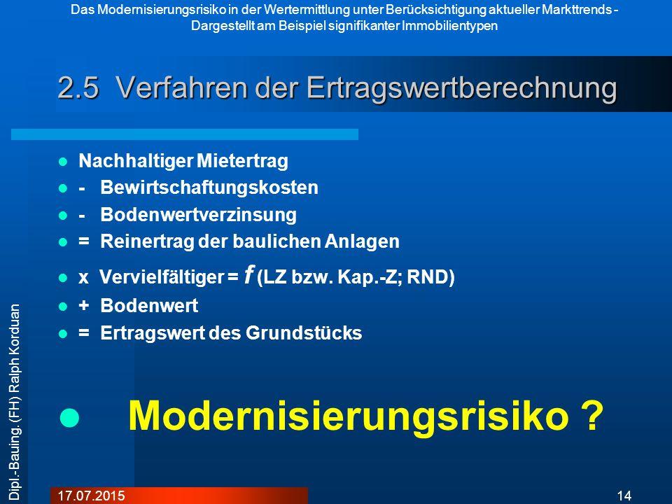 Das Modernisierungsrisiko in der Wertermittlung unter Berücksichtigung aktueller Markttrends - Dargestellt am Beispiel signifikanter Immobilientypen 1417.07.2015 Dipl.-Bauing.