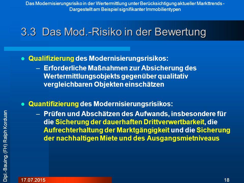 Das Modernisierungsrisiko in der Wertermittlung unter Berücksichtigung aktueller Markttrends - Dargestellt am Beispiel signifikanter Immobilientypen 1817.07.2015 Dipl.-Bauing.