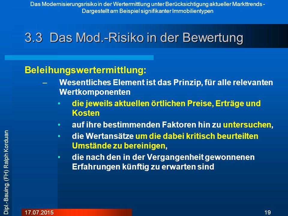 Das Modernisierungsrisiko in der Wertermittlung unter Berücksichtigung aktueller Markttrends - Dargestellt am Beispiel signifikanter Immobilientypen 1917.07.2015 Dipl.-Bauing.