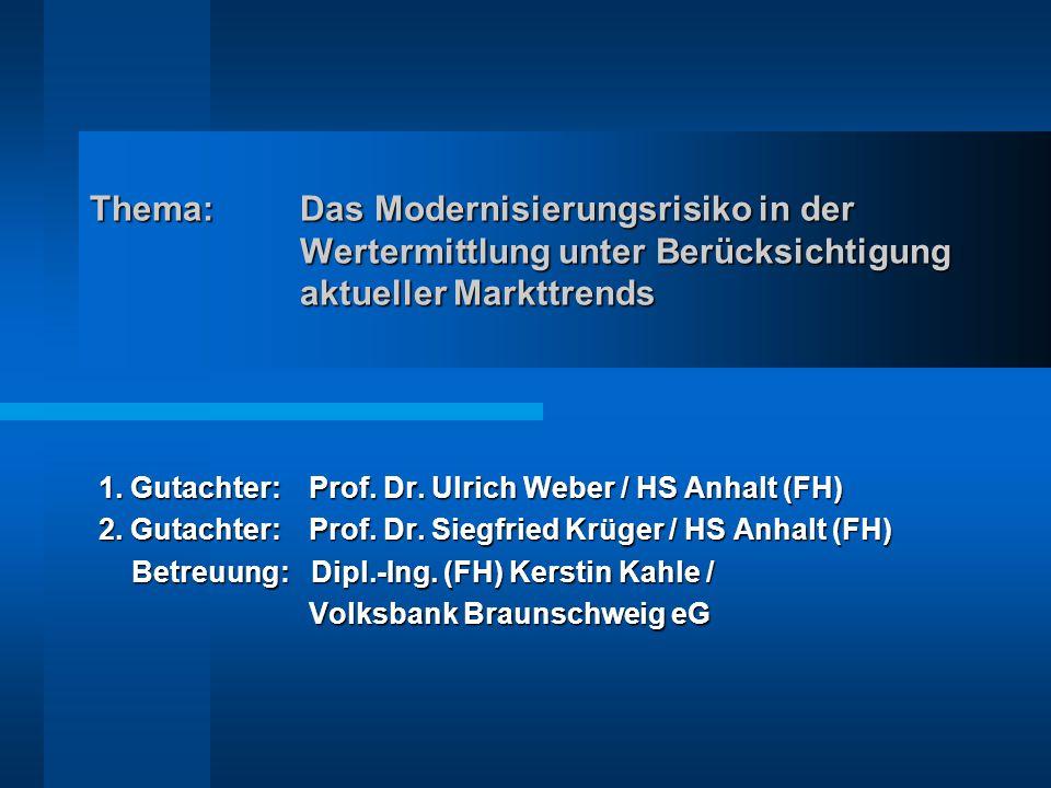 Thema:Das Modernisierungsrisiko in der Wertermittlung unter Berücksichtigung aktueller Markttrends 1.