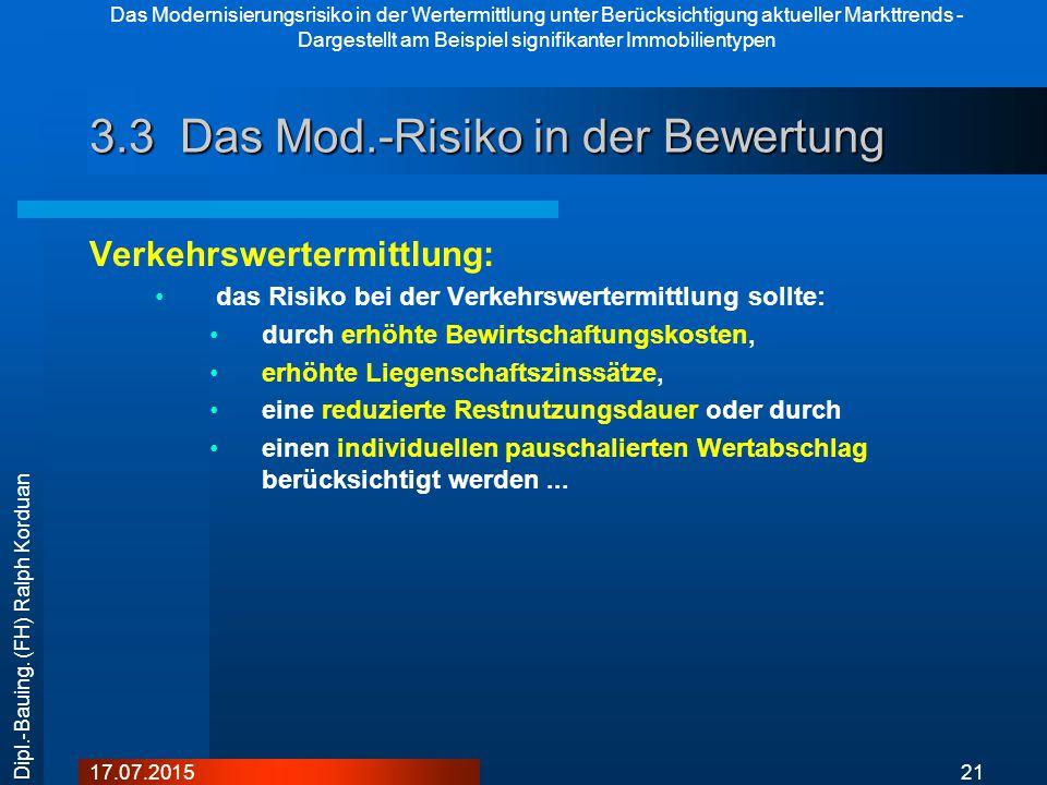 Das Modernisierungsrisiko in der Wertermittlung unter Berücksichtigung aktueller Markttrends - Dargestellt am Beispiel signifikanter Immobilientypen 2117.07.2015 Dipl.-Bauing.