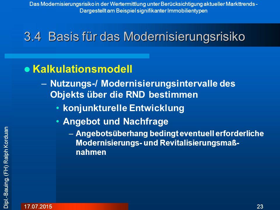 Das Modernisierungsrisiko in der Wertermittlung unter Berücksichtigung aktueller Markttrends - Dargestellt am Beispiel signifikanter Immobilientypen 2317.07.2015 Dipl.-Bauing.