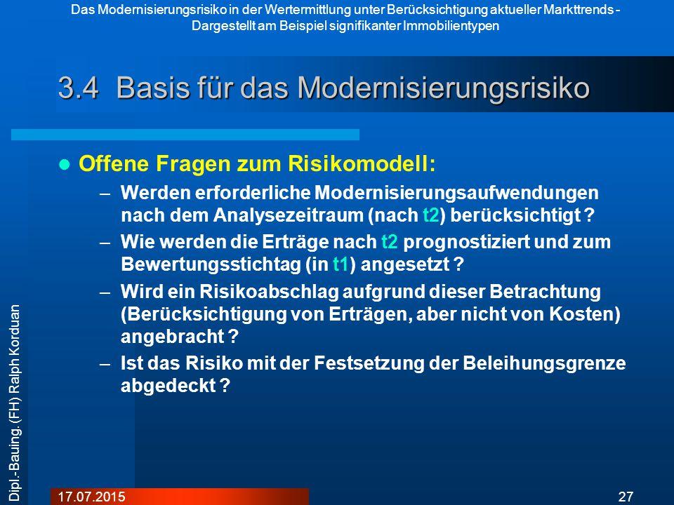 Das Modernisierungsrisiko in der Wertermittlung unter Berücksichtigung aktueller Markttrends - Dargestellt am Beispiel signifikanter Immobilientypen 2717.07.2015 Dipl.-Bauing.
