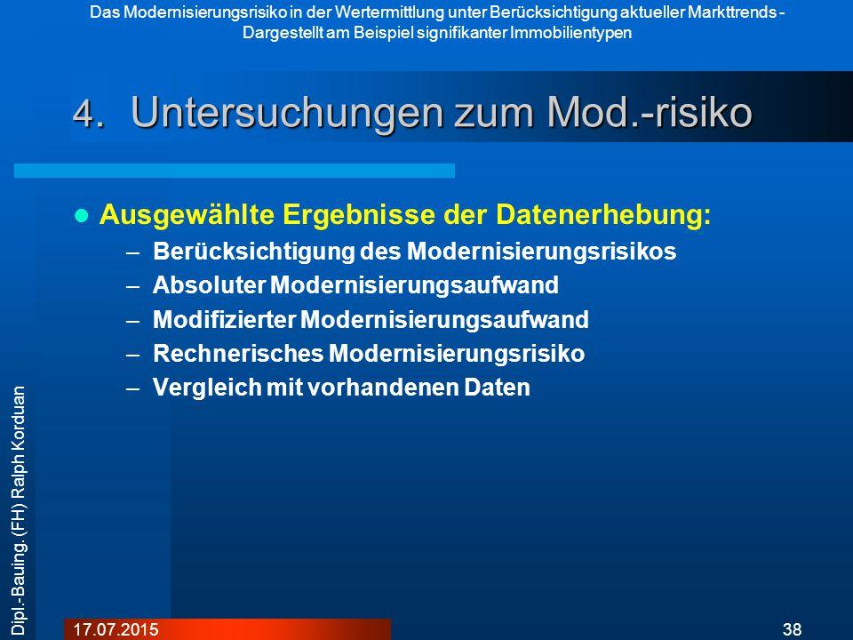 Das Modernisierungsrisiko in der Wertermittlung unter Berücksichtigung aktueller Markttrends - Dargestellt am Beispiel signifikanter Immobilientypen 3817.07.2015 Dipl.-Bauing.