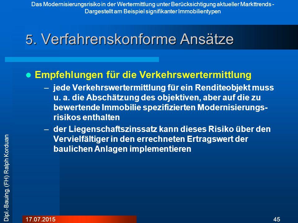 Das Modernisierungsrisiko in der Wertermittlung unter Berücksichtigung aktueller Markttrends - Dargestellt am Beispiel signifikanter Immobilientypen 4517.07.2015 Dipl.-Bauing.