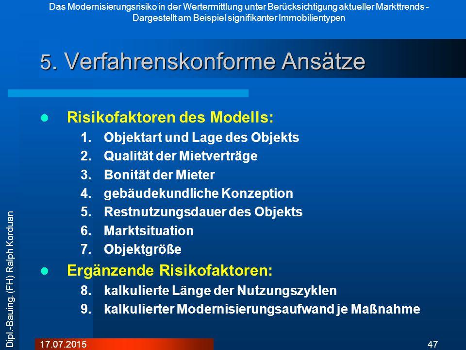 Das Modernisierungsrisiko in der Wertermittlung unter Berücksichtigung aktueller Markttrends - Dargestellt am Beispiel signifikanter Immobilientypen 4717.07.2015 Dipl.-Bauing.