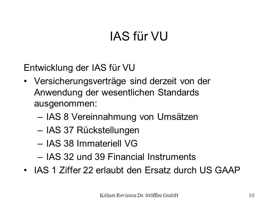 Kölner Revision Dr. Stöffler GmbH10 IAS für VU Entwicklung der IAS für VU Versicherungsverträge sind derzeit von der Anwendung der wesentlichen Standa