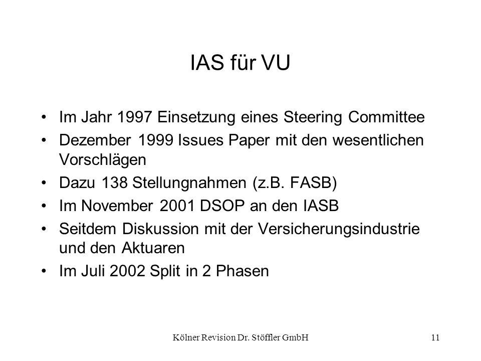 Kölner Revision Dr. Stöffler GmbH11 IAS für VU Im Jahr 1997 Einsetzung eines Steering Committee Dezember 1999 Issues Paper mit den wesentlichen Vorsch