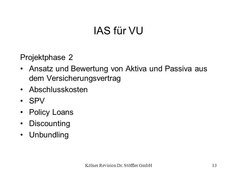 Kölner Revision Dr. Stöffler GmbH13 IAS für VU Projektphase 2 Ansatz und Bewertung von Aktiva und Passiva aus dem Versicherungsvertrag Abschlusskosten