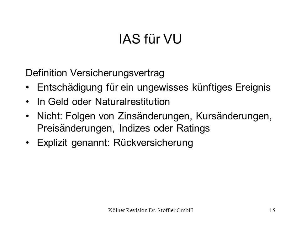 Kölner Revision Dr. Stöffler GmbH15 IAS für VU Definition Versicherungsvertrag Entschädigung für ein ungewisses künftiges Ereignis In Geld oder Natura