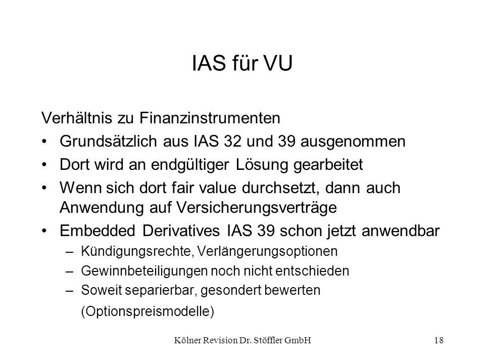 Kölner Revision Dr. Stöffler GmbH18 IAS für VU Verhältnis zu Finanzinstrumenten Grundsätzlich aus IAS 32 und 39 ausgenommen Dort wird an endgültiger L