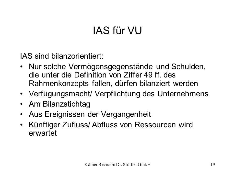 Kölner Revision Dr. Stöffler GmbH19 IAS für VU IAS sind bilanzorientiert: Nur solche Vermögensgegenstände und Schulden, die unter die Definition von Z