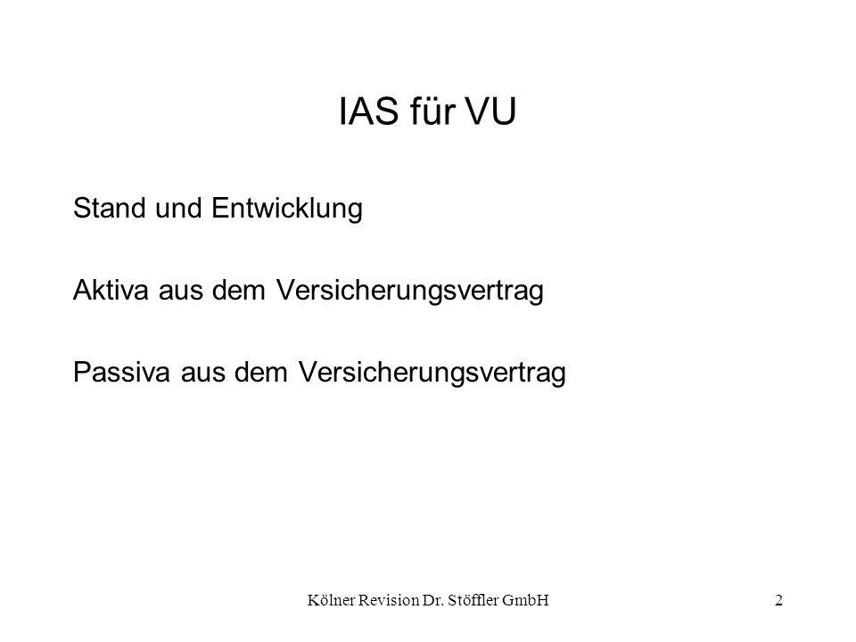 Kölner Revision Dr. Stöffler GmbH2 IAS für VU Stand und Entwicklung Aktiva aus dem Versicherungsvertrag Passiva aus dem Versicherungsvertrag