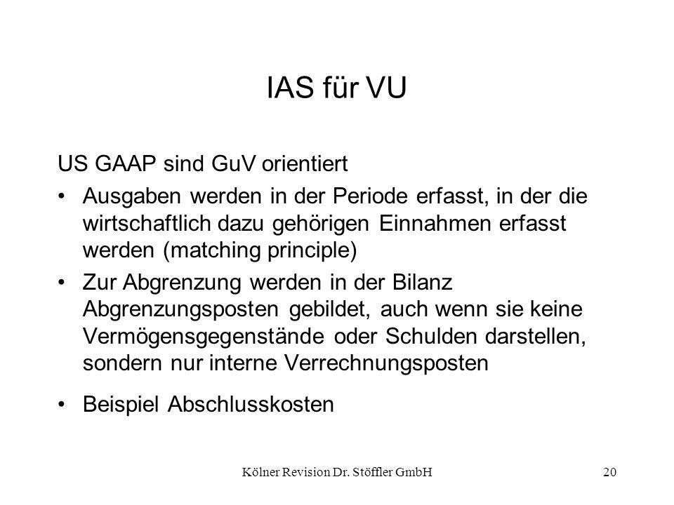 Kölner Revision Dr. Stöffler GmbH20 IAS für VU US GAAP sind GuV orientiert Ausgaben werden in der Periode erfasst, in der die wirtschaftlich dazu gehö