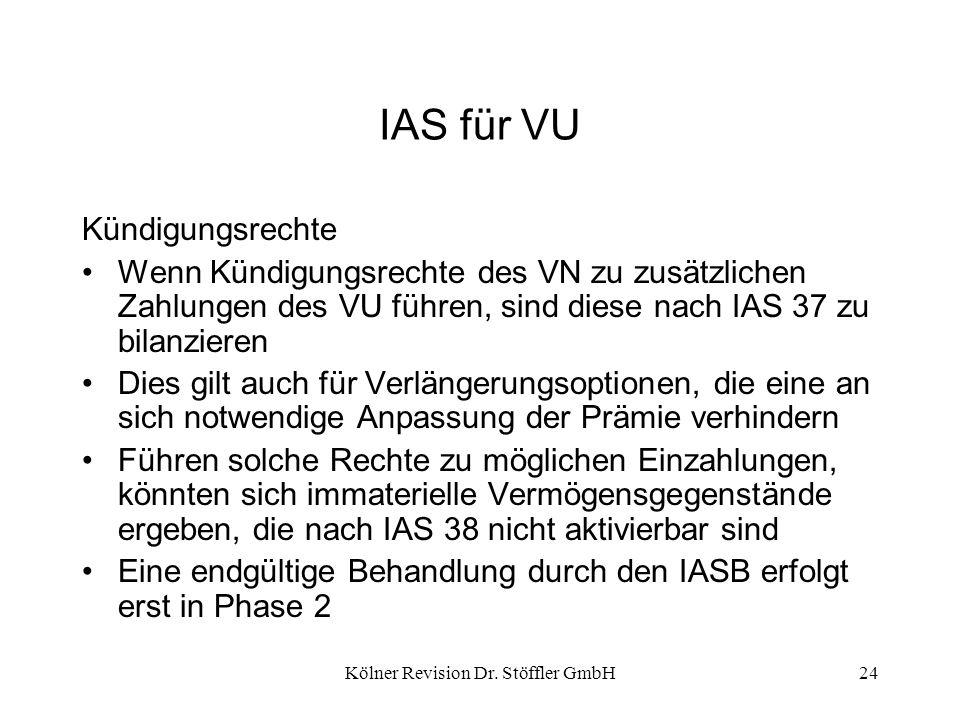 Kölner Revision Dr. Stöffler GmbH24 IAS für VU Kündigungsrechte Wenn Kündigungsrechte des VN zu zusätzlichen Zahlungen des VU führen, sind diese nach