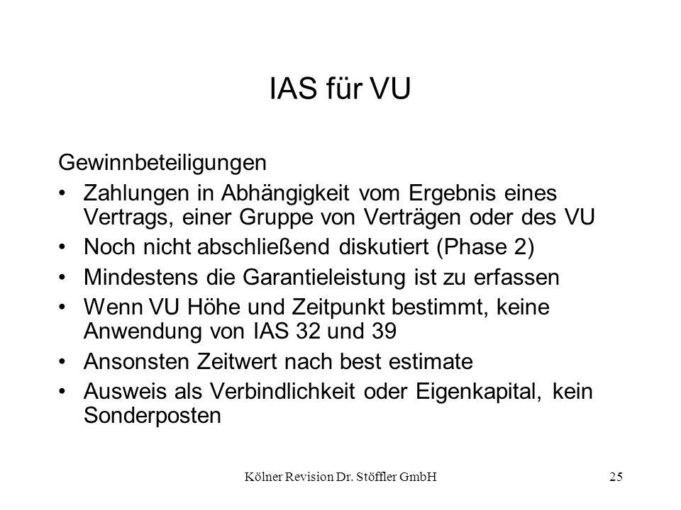 Kölner Revision Dr. Stöffler GmbH25 IAS für VU Gewinnbeteiligungen Zahlungen in Abhängigkeit vom Ergebnis eines Vertrags, einer Gruppe von Verträgen o