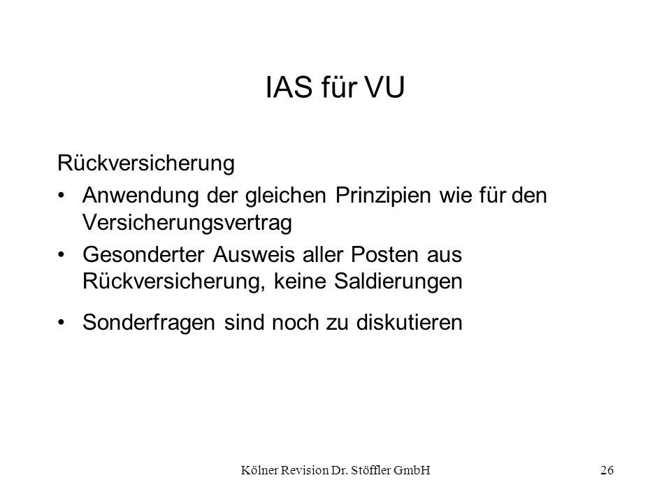 Kölner Revision Dr. Stöffler GmbH26 IAS für VU Rückversicherung Anwendung der gleichen Prinzipien wie für den Versicherungsvertrag Gesonderter Ausweis