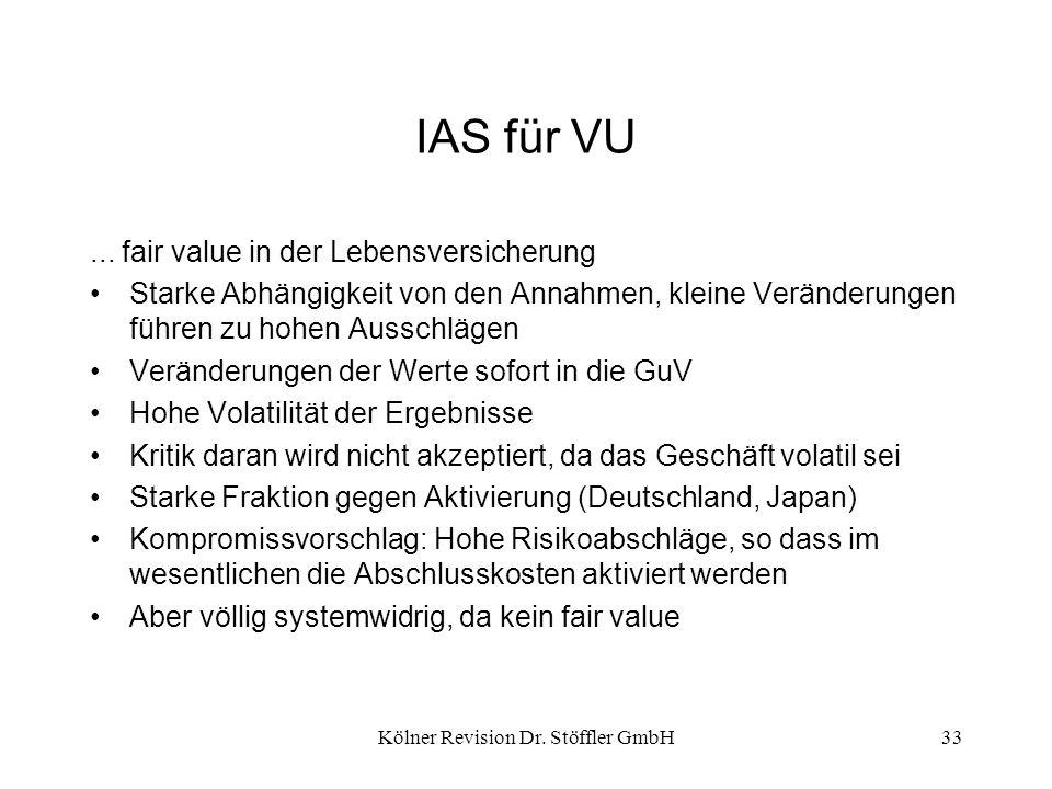 Kölner Revision Dr. Stöffler GmbH33 IAS für VU... fair value in der Lebensversicherung Starke Abhängigkeit von den Annahmen, kleine Veränderungen führ