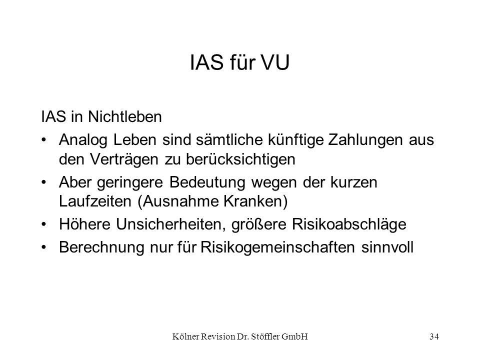 Kölner Revision Dr. Stöffler GmbH34 IAS für VU IAS in Nichtleben Analog Leben sind sämtliche künftige Zahlungen aus den Verträgen zu berücksichtigen A