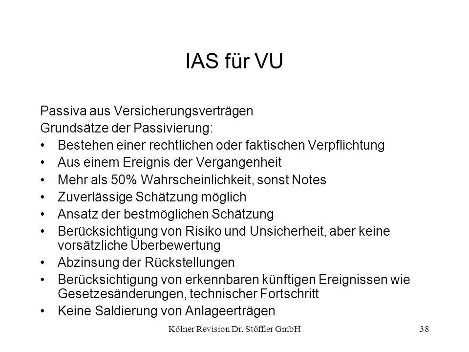 Kölner Revision Dr. Stöffler GmbH38 IAS für VU Passiva aus Versicherungsverträgen Grundsätze der Passivierung: Bestehen einer rechtlichen oder faktisc