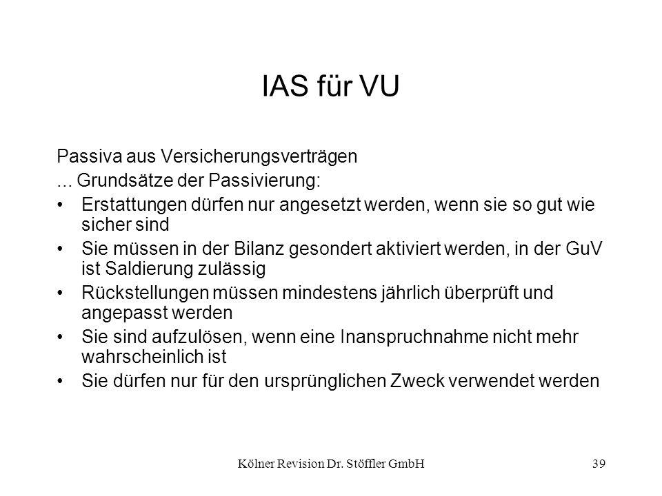 Kölner Revision Dr. Stöffler GmbH39 IAS für VU Passiva aus Versicherungsverträgen... Grundsätze der Passivierung: Erstattungen dürfen nur angesetzt we